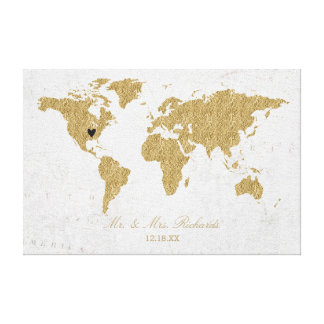 Gold Foil World Map Wedding Alternative Guestbook