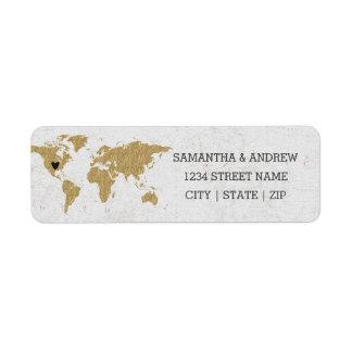 Gold Foil World Map Wedding Return Address Return Address Label