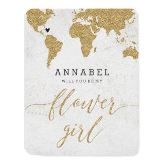Gold Foil World Map Will You Be My Flower Girl Card