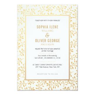 Gold foliage / leaves pattern wedding invitation