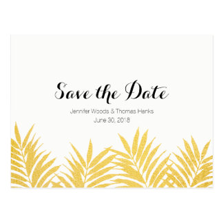 Gold Foliated Clean Simple Save the Date Postcard