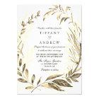 Gold Forest Leaf Wreath Elegant Wedding Invitation