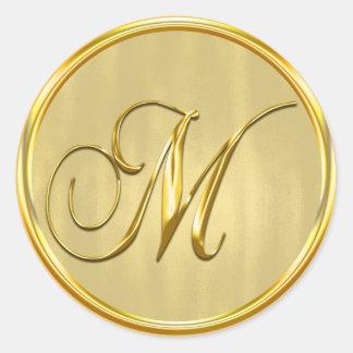 Gold Formal Wedding Monogram M Seal Round Sticker