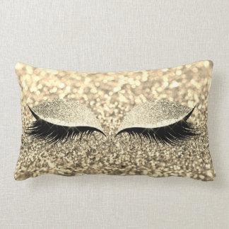 Gold Foxier Glitter Black Glam Makeup Monochroatic Lumbar Pillow