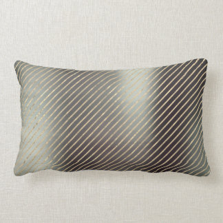 Gold Foxier Graphite Teal Metallic Stripes Lines Lumbar Pillow