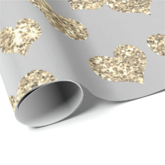 Gold Foxier Hearts Confetti Metallic Silver Sparkl Wrapping Paper