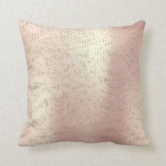 Gold Foxier Rose Gold Pink Metallic Cyber Drops Throw Pillow