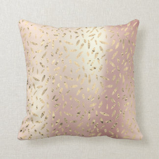 Gold Foxier Rose Gold Pink Metallic Leafs Olive Throw Pillow