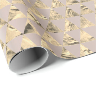 Gold Foxier Triangle Diamond Metallic Pearly Blush Wrapping Paper