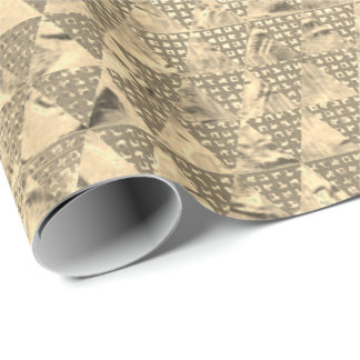 Gold Foxier Triangles Metallic Sequin Sepia Grill Wrapping Paper