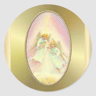 GOLD FRAME & ANGELS by SHARON SHARPE Classic Round Sticker