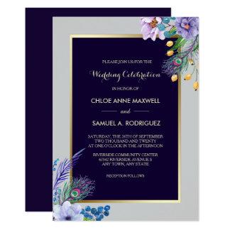 Gold Frame Blue Boho Floral Wedding Invitation