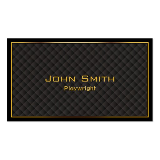 Gold Frame Diamond Grids Playwright Business Card