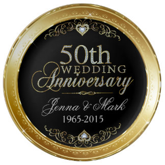 Gold Frame & Hearths 50th Wedding Anniversary Porcelain Plates