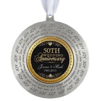 Gold Frame & Hearths 50th Wedding Anniversary Round Pewter Ornament