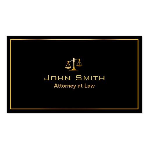 Gold Frame Lawyer/Attorney Dark Business Card
