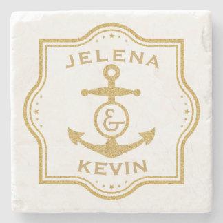 Gold Frame & Nautical Anchor Wedding Gift Stone Coaster