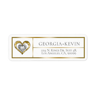 Gold Frame With Gold & Diamonds Double Heart