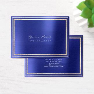 Gold Framed Minimal Metallic Cobalt Sapphire Blue Business Card