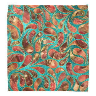 Gold Framed Red Gemstone  Paisley pattern on teal Bandana