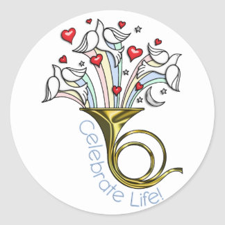 Gold French Horn, Doves, Hearts, Celebrate Life Classic Round Sticker