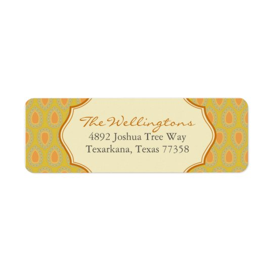 Gold Frilly Crest Return Address Label