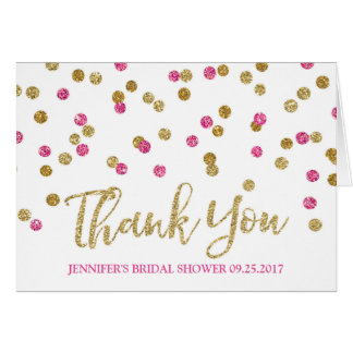 Gold Fuchsia Pink Confetti Bridal Shower Thank You Card