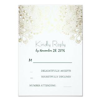 Gold Garden Flowers Wedding RSVP Cards
