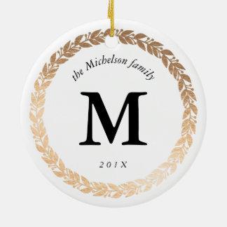 Gold Garland Elegant Photo and Monogrammed White Round Ceramic Ornament