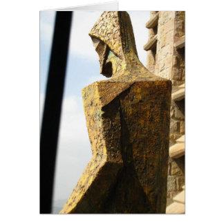 Gold Gaudi Jesus Statue Card