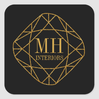 Gold Gem Stone Monogram Business Stickers