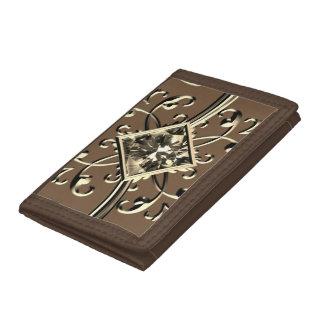 gold gem walett trifold wallet