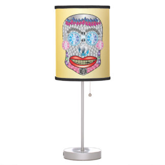 Gold Gemma Candy Skull Lamp