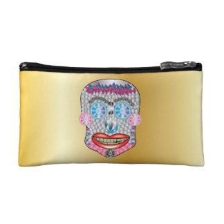 Gold Gemma Candy Skull Makeup Bag