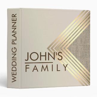 Gold Geometric Burlap Modern Elegant Wedding 3 Ring Binder