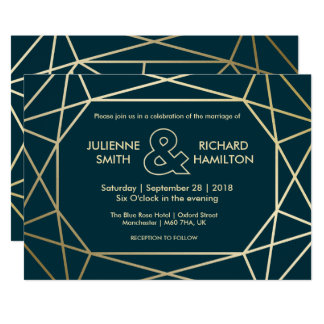 Gold Geometric Diamond Shaped Wedding Invitation
