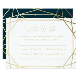Gold Geometric Diamond Shaped Wedding RSVP Card
