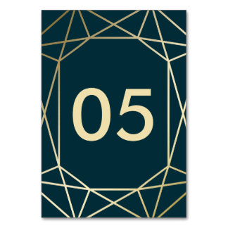 Gold Geometric Diamond Wedding Table Number Cards
