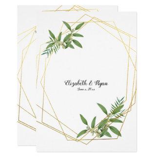 Gold Geometric Eucalyptus Leaves Woodland Card