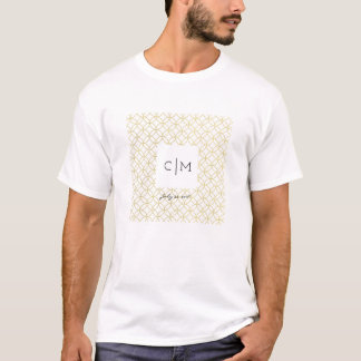 Gold Geometric Monogram Wedding Date Men's T-Shirt