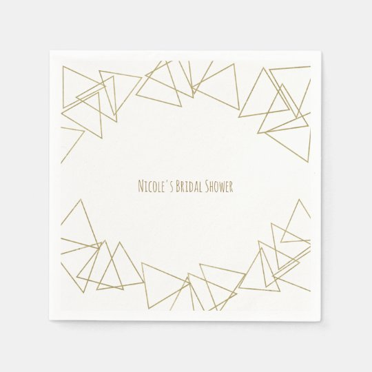 Gold Geometric Triangles Modern Glamour Chic Party Disposable Napkin