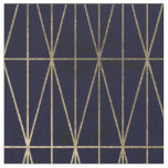 Gold geometric triangles navy blue watercolor fabric