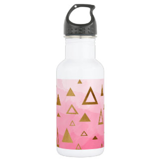 gold geometric triangles pastel pink brushstrokes 532 ml water bottle