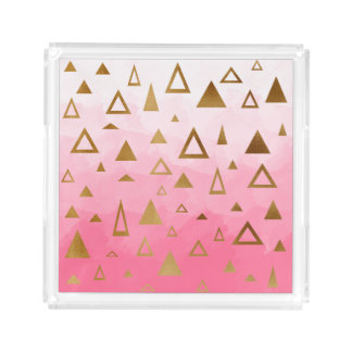 gold geometric triangles pastel pink brushstrokes acrylic tray