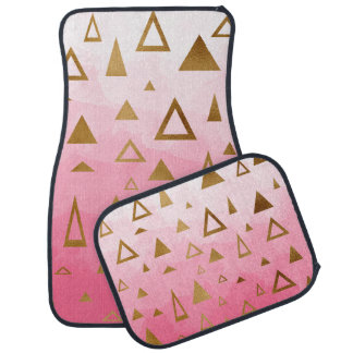 gold geometric triangles pastel pink brushstrokes car mat