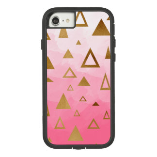 gold geometric triangles pastel pink brushstrokes Case-Mate tough extreme iPhone 8/7 case