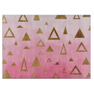 gold geometric triangles pastel pink brushstrokes cutting board