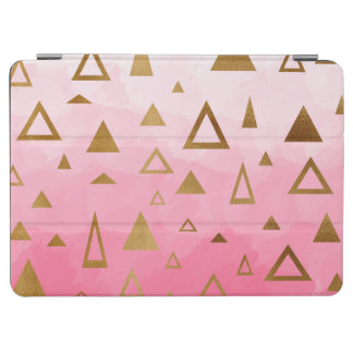 gold geometric triangles pastel pink brushstrokes iPad air cover