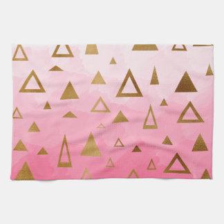 gold geometric triangles pastel pink brushstrokes kitchen towel