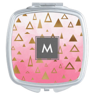 gold geometric triangles pastel pink brushstrokes mirrors for makeup
